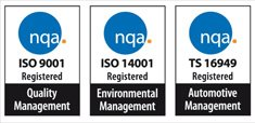 iso 9001, 14001 and 16949 logos